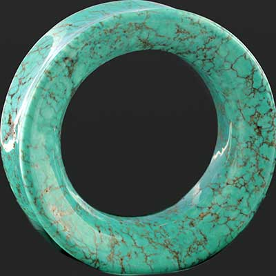Synthetic turquoise eyelets