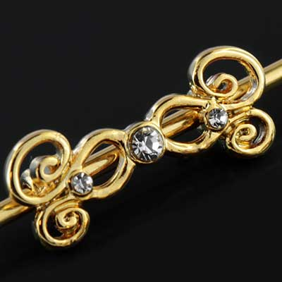 Gold Colored Gem Swirl Industrial Barbell Set