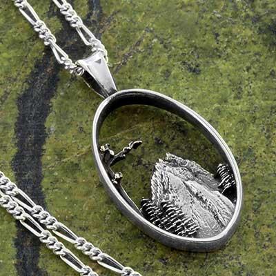 Silver Mountain Scene Necklace