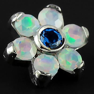 Titanium gemmed flower threaded end (Sapphire CZ/Faceted white opal)