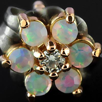 18k Rose Gold Gemmed Flower Earrings  (Clear Cz/Faceted White Opal)