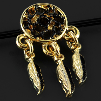 Gold and Black Dream Catcher Industrial Barbell