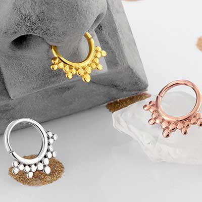 Rose Gold Plated Burst Seamless Septum Ring