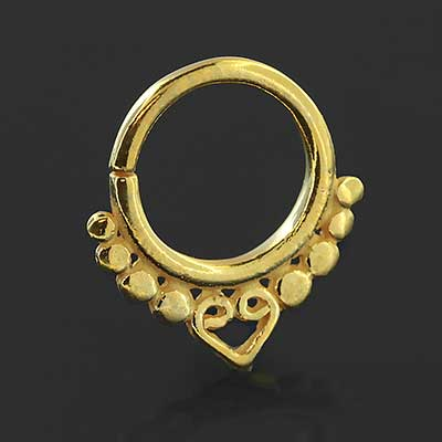 Gold plated heart seamless septum ring