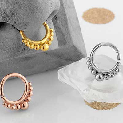 Gold plated dots seamless septum ring