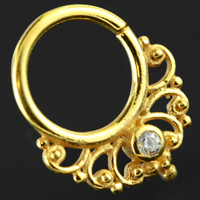 Gold Plated Gemmed Filigree Seamless Septum Ring