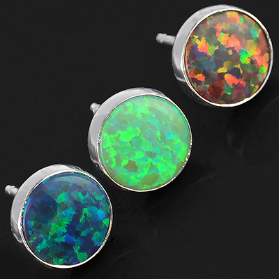 Circle Synthetic Opal Earrings