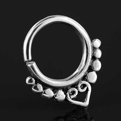Sterling silver heart seamless septum ring