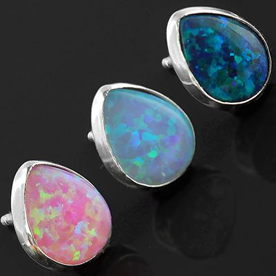 Synthetic Opal Teardrop Earrings
