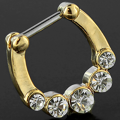 Gold Colored Five Gem Septum Clicker