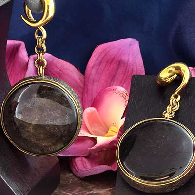 Distressed Brass and Golden Obsidian Weights