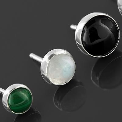 Stone Cabochon Earrings