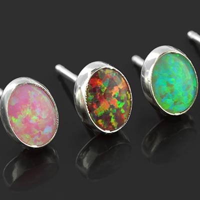 Oval Synthetic Opal Earrings