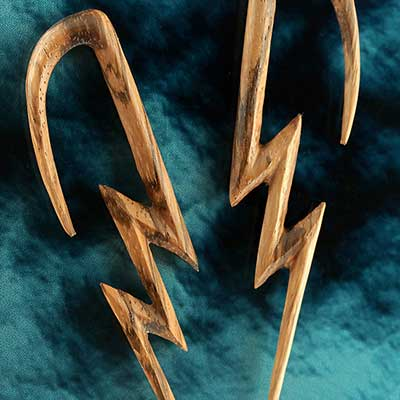 Zebrawood lightning bolt design