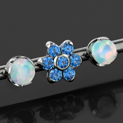 Titanium Industrial Barbell with Opals and Gem Flower