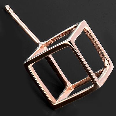 18k Rose Gold Plated Cube Earrings