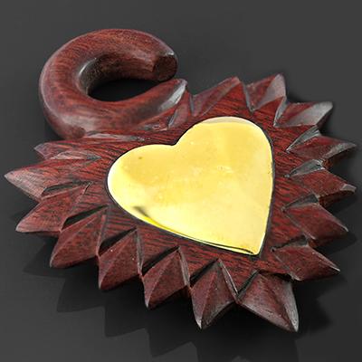 Bloodwood and brass metal heart design