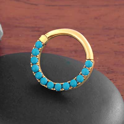 14k Gold Eternity Turquoise Clicker