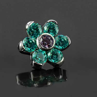 Steel gemmed flower threaded end (Amethyst CZ/mint green CZ)
