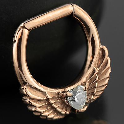 Rose gold colored winged gem septum clicker