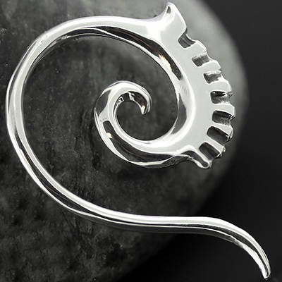 Sterling Silver Embellished Tail Spiral