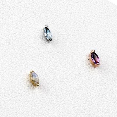 Solid 14k Gold Zuri Threadless End with Genuine Gemstones