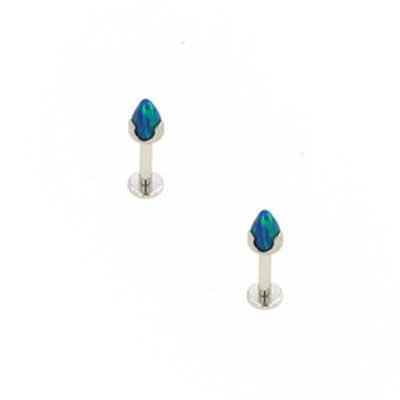 PRE-ORDER Titanium flatback labret with prong set opal/stone bullet