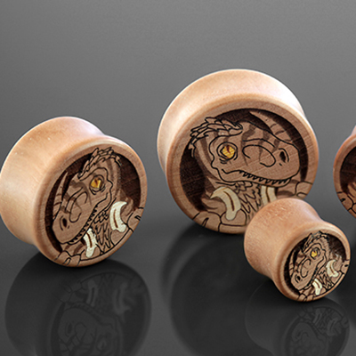 Pear Wood Velociraptor Plugs