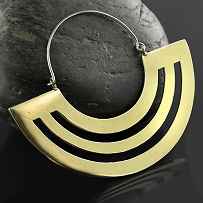 Brass Parallel Lines Earrings