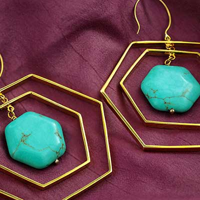Brass Revolving Hexagon Hoops with Synthetic Turquoise