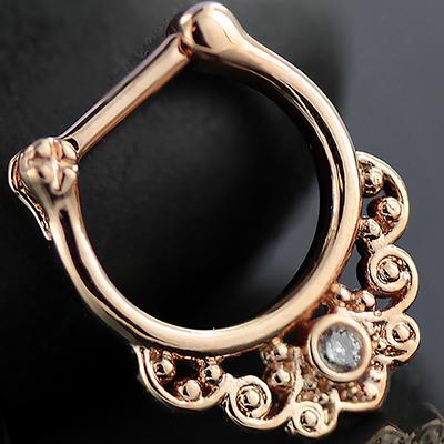 Rose gold colored Curlicue septum clicker