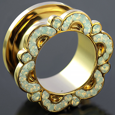 Gold colored ornate synthetic opal eyelet