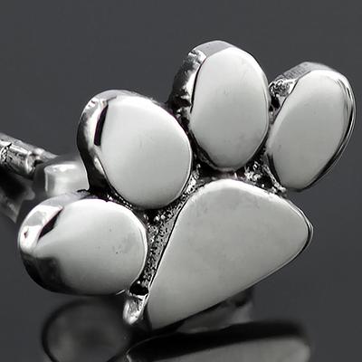 Sterling silver paw print earrings