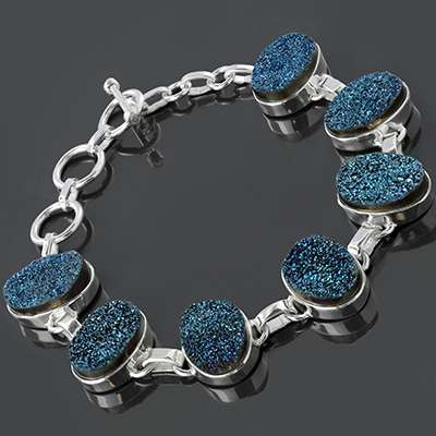 Sterling silver and electroplated druzy bracelet