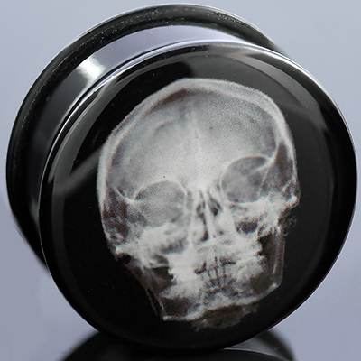 Acrylic X-Ray Skull Plugs (Front View)