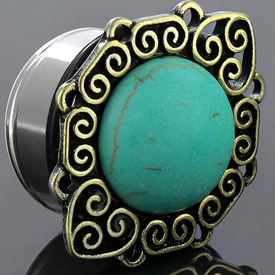 Single flare synthetic turquoise sun plug