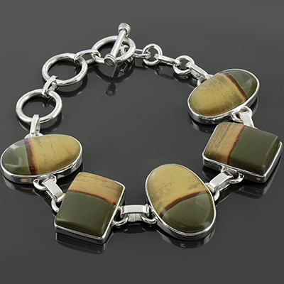 Silver and Wildhorse picture jasper bracelet