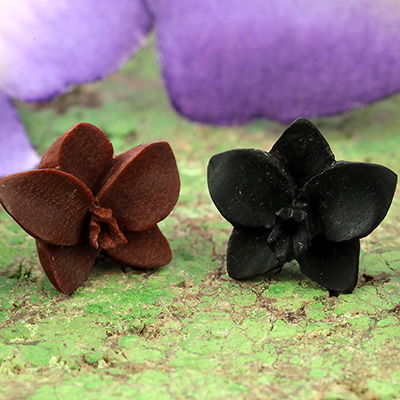 Wood Orchid Earrings