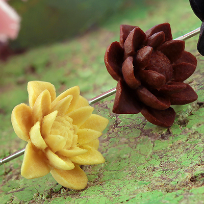 Wood Water Lily Earrings