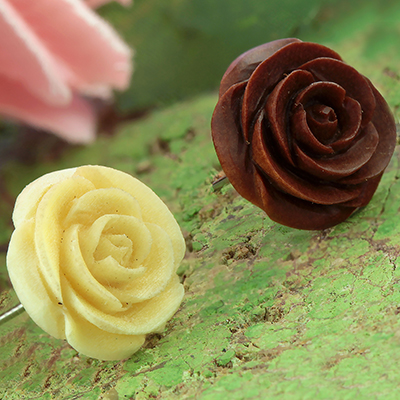 Wood Rose Earrings
