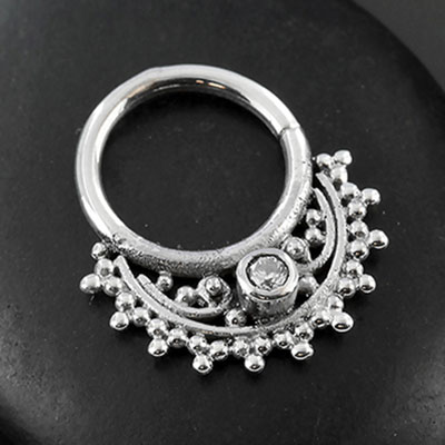 Sterling Silver Fan Gem Seamless Septum Ring