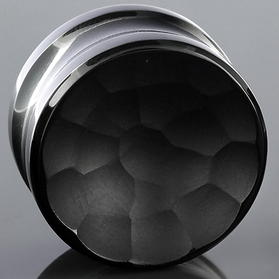 Glass Solid Color Martele Concave Plugs (Black)