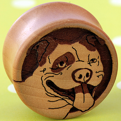 Pear Wood Pit Bull Plugs