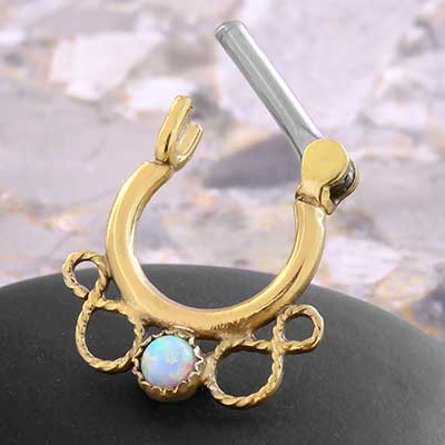 14k Gold Plated Stone Filigree Septum Clicker