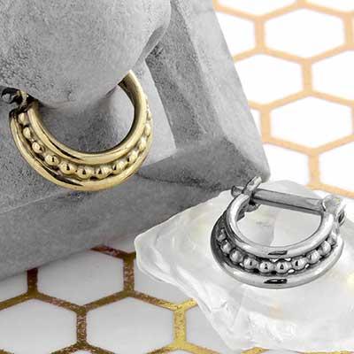 Beaded Three Ring Circus Septum Clicker