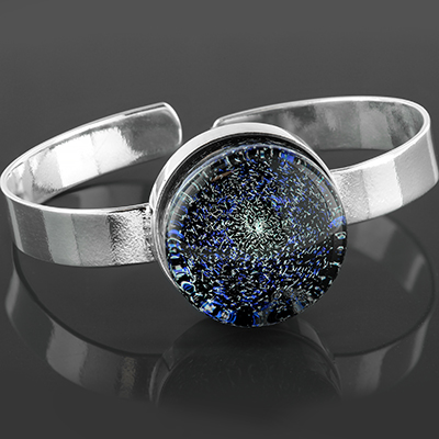 Steel and glass galaxy bracelet (Blue/diamond)