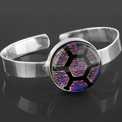 Steel and glass honeycomb bracelet