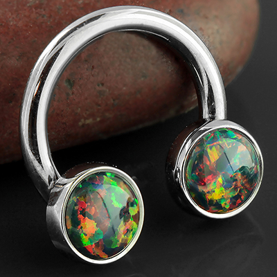 Titanium Septum Ring with Bezel Set Opal Cabochon Ends