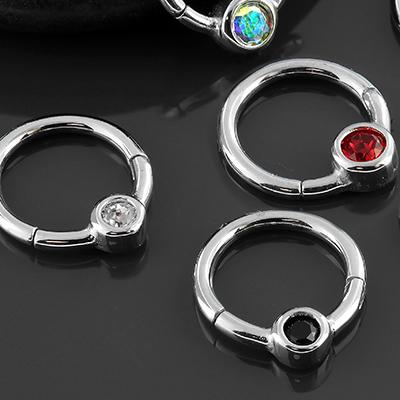 Gemmed captive clicker ring
