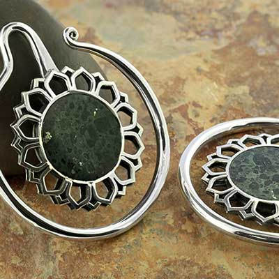 Silver Eye of the Dandelion with black coral inlays